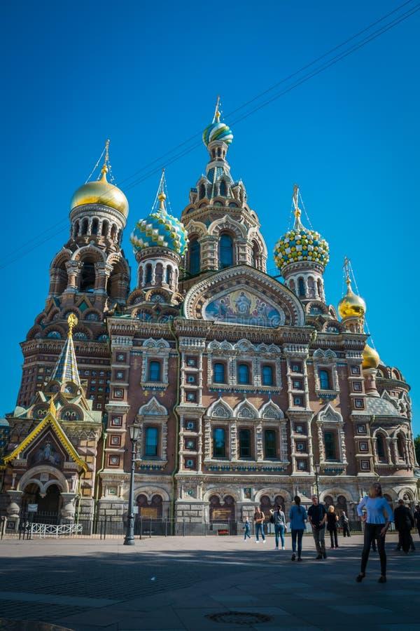 Iglesia del salvador en sangre derramada en St Petersburg, Rusia imagen de archivo libre de regalías