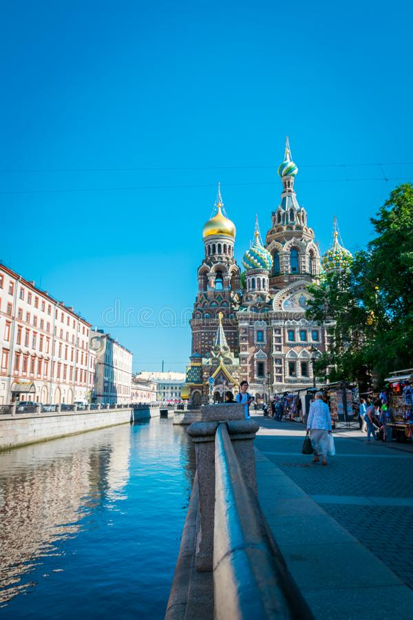 Iglesia del salvador en sangre derramada en St Petersburg, Rusia foto de archivo libre de regalías