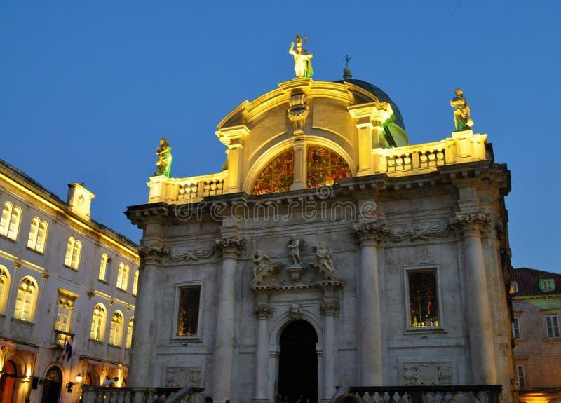 Iglesia del santo Blaise en la noche - Dubrovnik foto de archivo