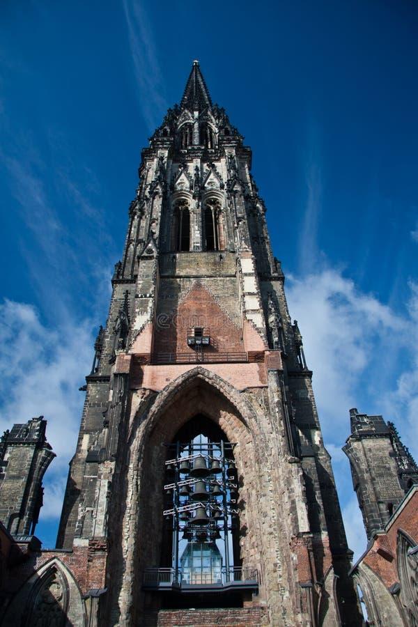 Iglesia del St. Nikolai. Hamburgo fotografía de archivo