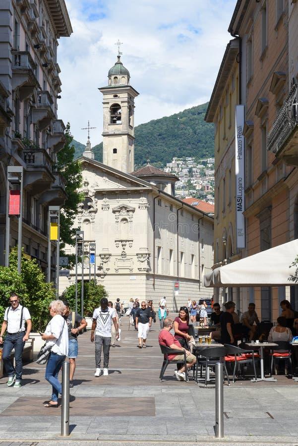 Iglesia del St Rocco en el centro de ciudad del centro turístico lujoso Lugano, S fotografía de archivo libre de regalías
