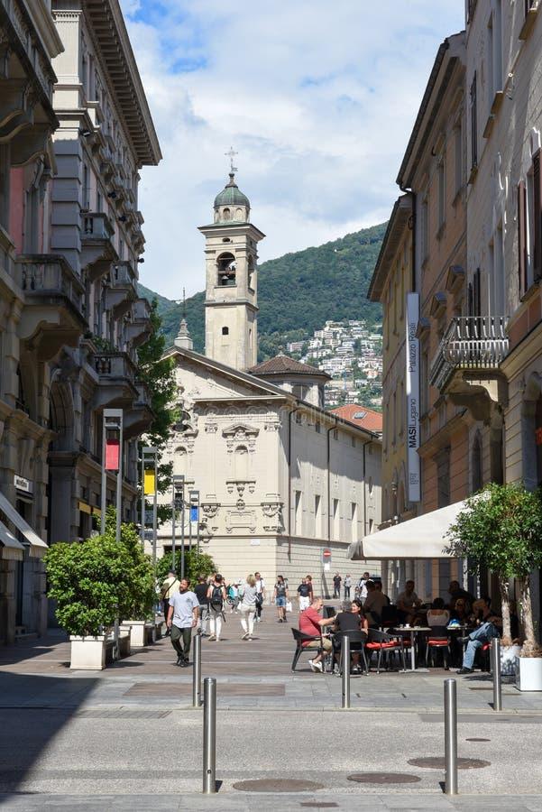 Iglesia del St Rocco en el centro de ciudad del centro turístico lujoso Lugano, S fotos de archivo libres de regalías