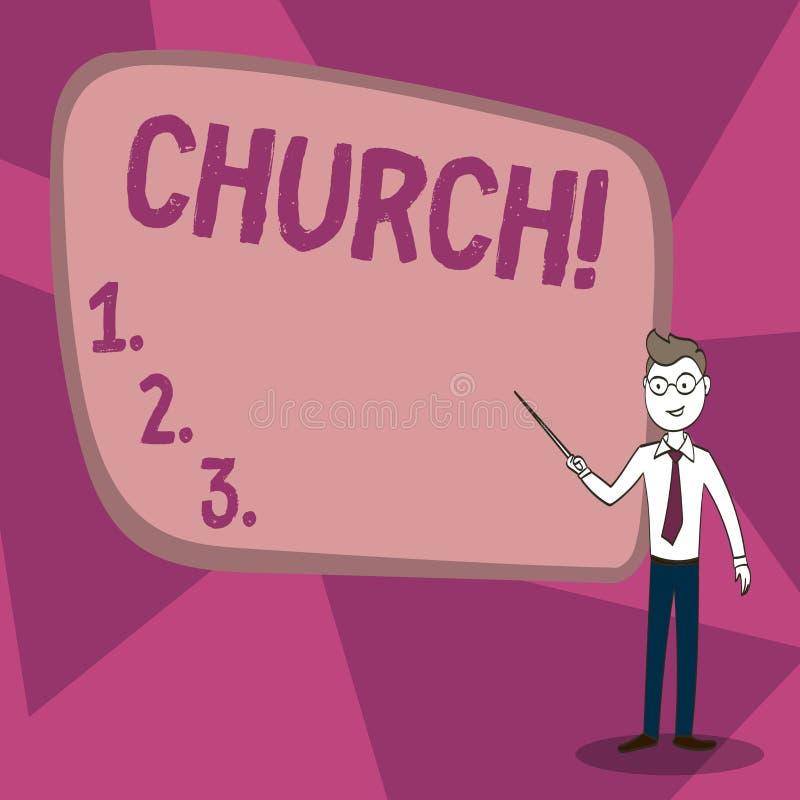 Iglesia del texto de la escritura de la palabra Concepto del negocio para el templo de la sinagoga de la capilla del santuario de stock de ilustración