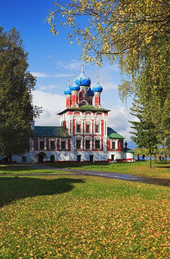 Iglesia Dmitry en la sangre en Uglich Kremlin imagen de archivo