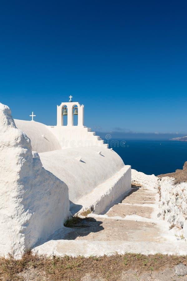Iglesia en Akrotiri en Santorini Grecia foto de archivo