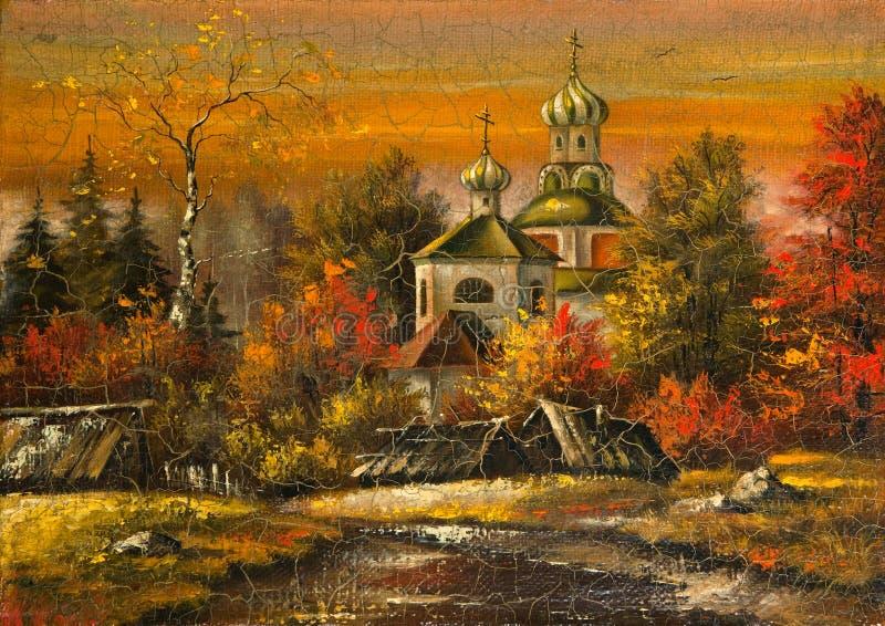 Iglesia en aldea stock de ilustración