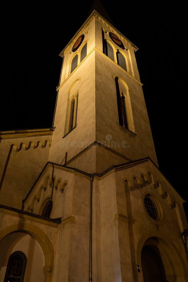 Iglesia en Boppard en la noche imagen de archivo libre de regalías