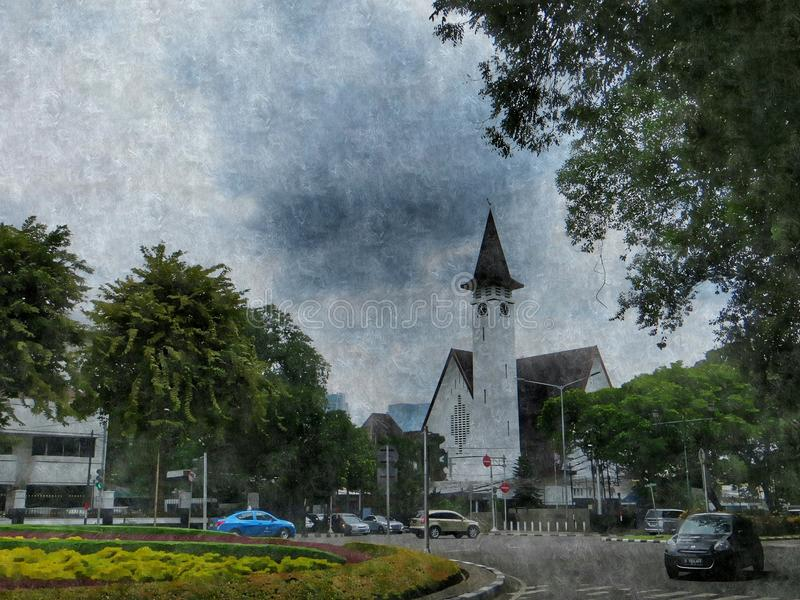 Iglesia en el arte digital de Menteng libre illustration