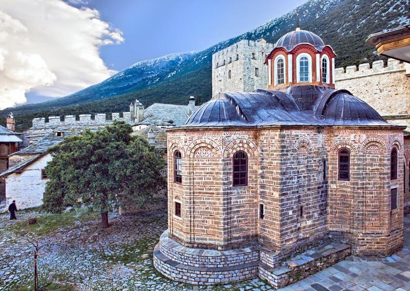Iglesia en el gran Lavra en Mt Athos imágenes de archivo libres de regalías