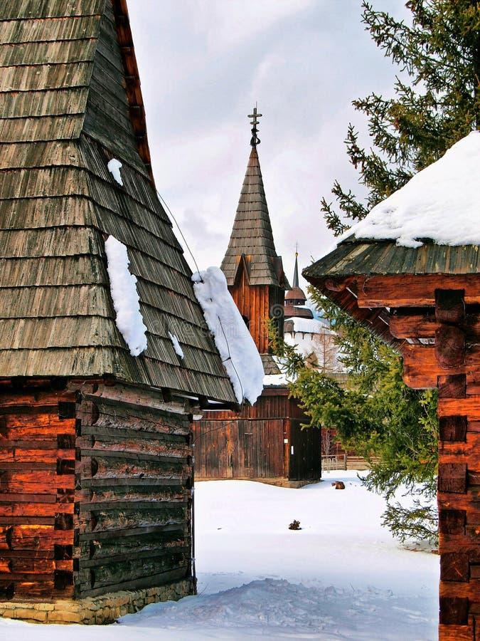 Iglesia en el museo en Pribylina imagenes de archivo