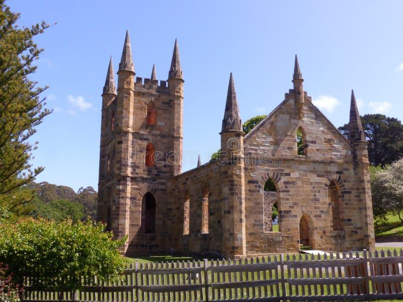 Iglesia en el puerto Arthur Hobart Tasmania fotografía de archivo