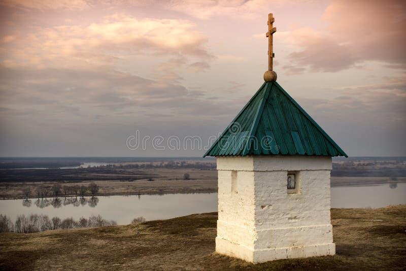 Iglesia en Konstantinovo de Rusia La capilla en el lugar de nacimiento del poeta Sergei Yesenin imagen de archivo libre de regalías