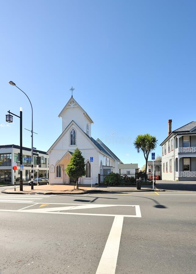 Iglesia en la calle de Parnell en Auckland fotografía de archivo
