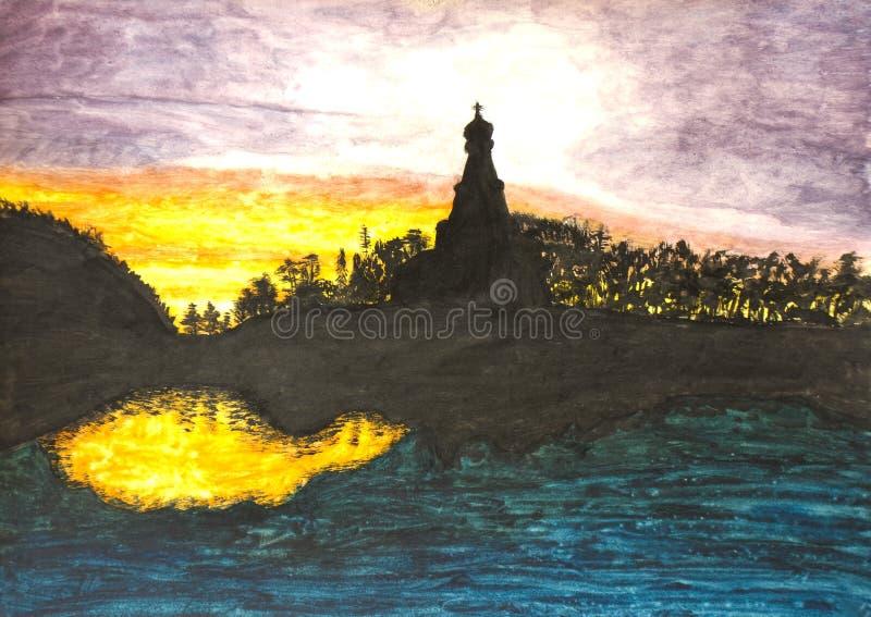 Iglesia en la puesta del sol, pintando foto de archivo libre de regalías
