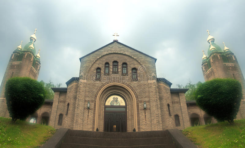 Iglesia En Niebla Imagen de archivo
