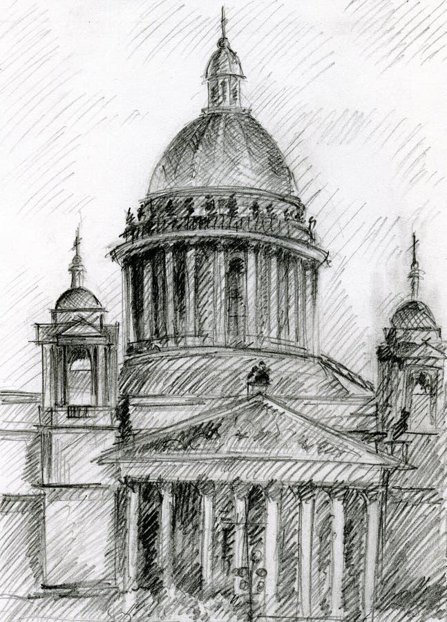 Iglesia en St Petersburg stock de ilustración