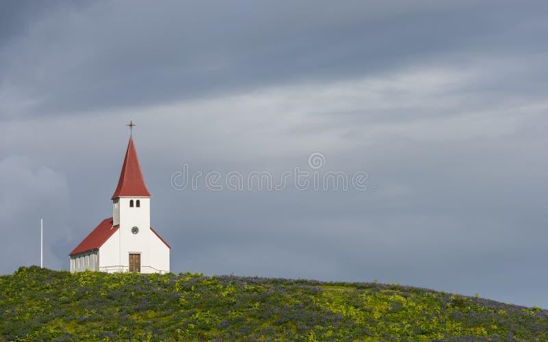 Iglesia en Vik i Myrdal imagen de archivo libre de regalías