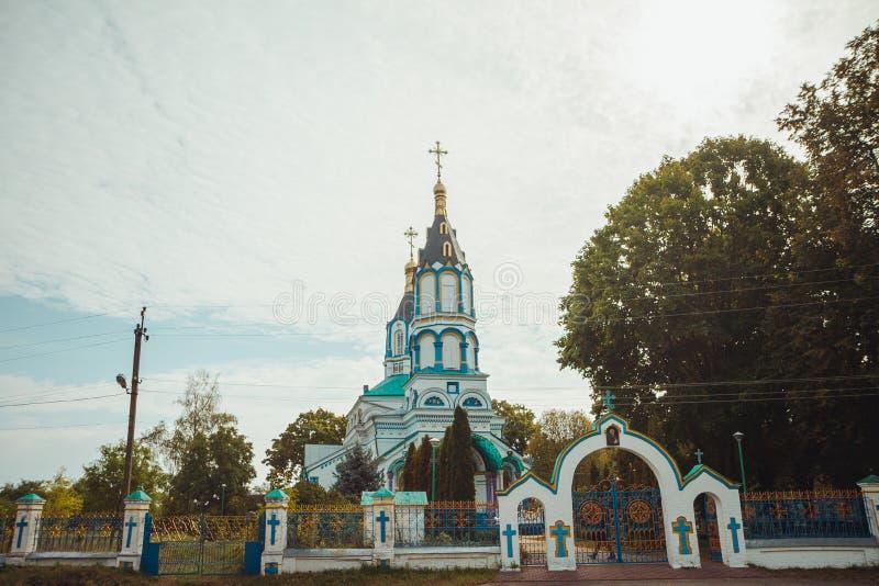 Iglesia en zona de exclusión de Chornobyl Zona radiactiva en la ciudad de Pripyat - pueblo fantasma abandonado Historia de Chernó imágenes de archivo libres de regalías