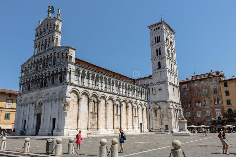 Iglesia famosa y hermosa san Micaela in foro en Lucca imagen de archivo libre de regalías