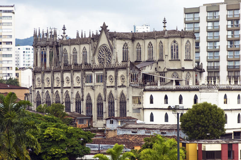 Iglesia gótica en Pereira, Colombia fotografía de archivo libre de regalías