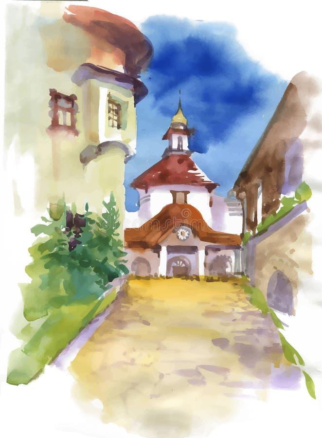 Iglesia hermosa en la pequeña ciudad, pintura de la acuarela stock de ilustración