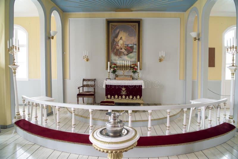 Iglesia interior de Qaqartoq, Groenlandia imagen de archivo