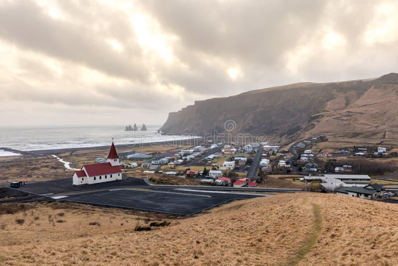 Iglesia Islandia de Vik i Myrdal fotografía de archivo libre de regalías