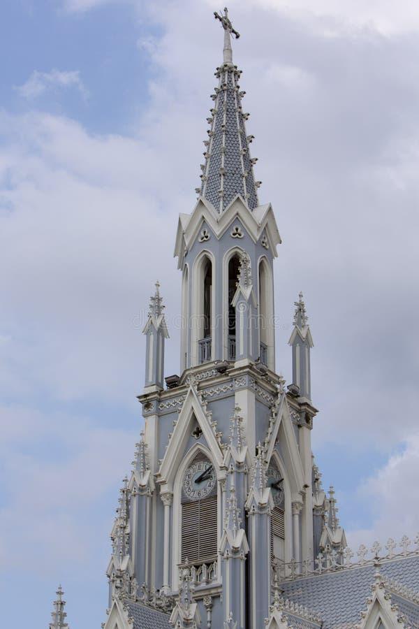 Iglesia La Ermita in Cali, Colombia. Details of the La Ermita church in Cali with cloudy blue sky, Colombia stock image