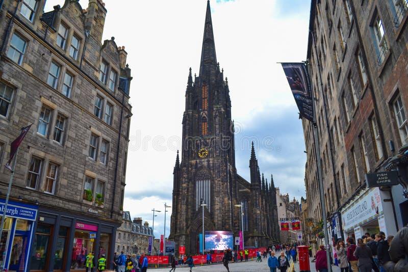 Iglesia libre del ` s del Columba del St de Escocia, en milla real en Edimburgo imagen de archivo libre de regalías