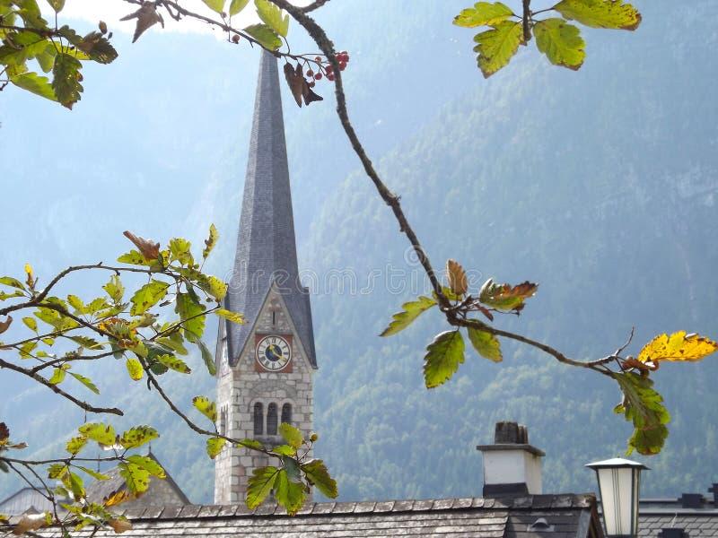 Iglesia luterana, Hallstatt, Austria imágenes de archivo libres de regalías