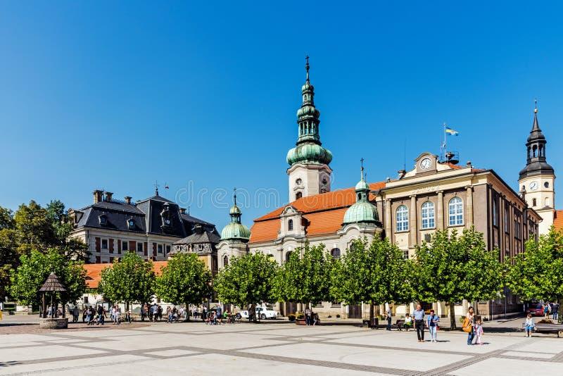 Iglesia luterana y ayuntamiento foto de archivo libre de regalías