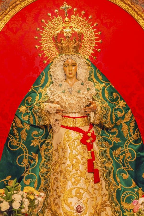 Iglesia Madrid España de Mary With Tears Le Macarena Statue Collegiata fotos de archivo libres de regalías