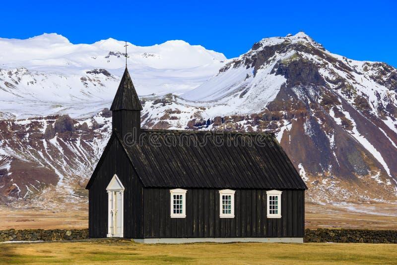 Iglesia negra en el Snaefellsnes, Islandia de Budir imagen de archivo libre de regalías