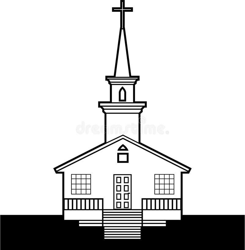 Iglesia Negro-n-blanca stock de ilustración