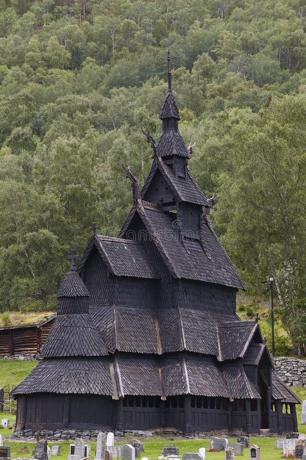 Iglesia noruega tradicional del bastón Borgund Viaje Noruega viaje fotos de archivo libres de regalías
