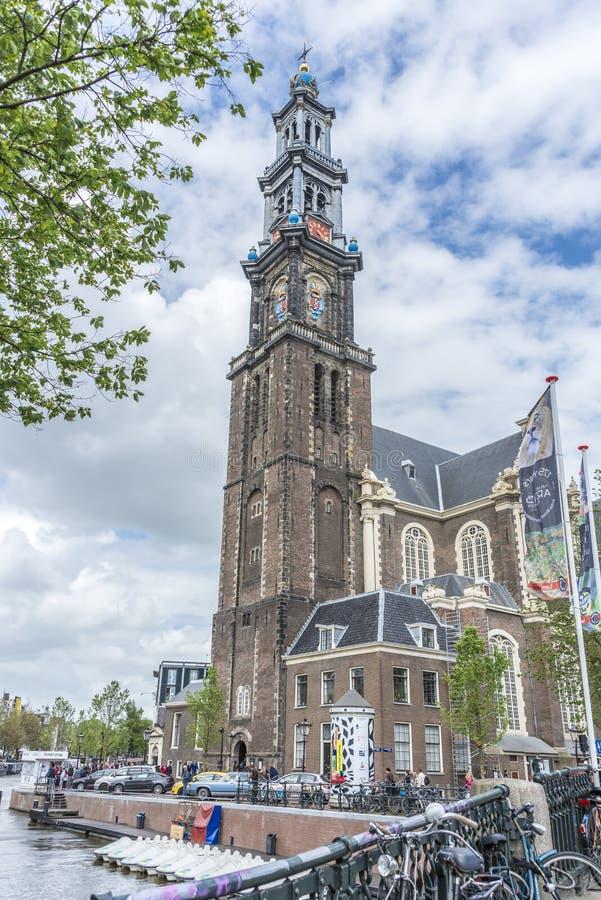 Iglesia occidental en Amsterdam, Países Bajos fotografía de archivo libre de regalías