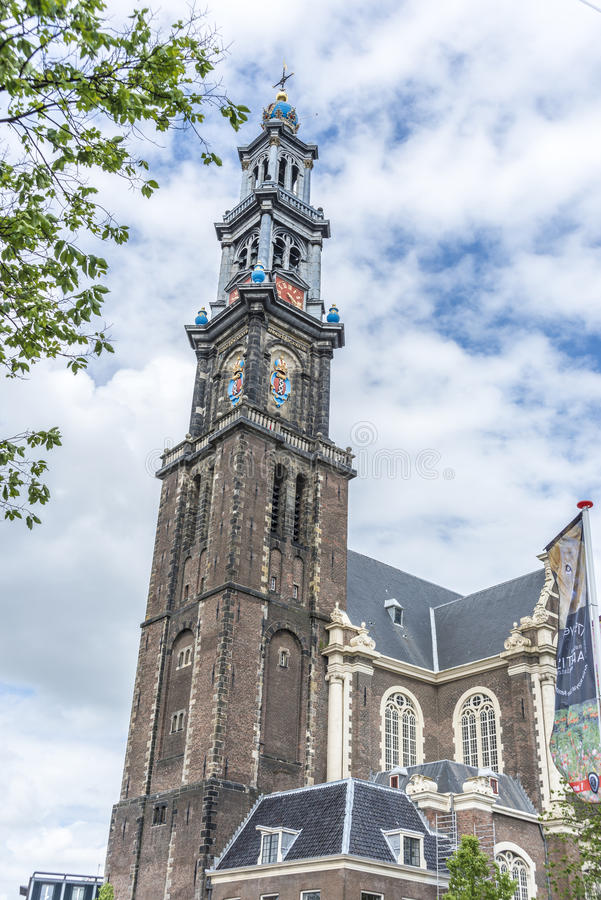 Iglesia occidental en Amsterdam, Países Bajos imagenes de archivo