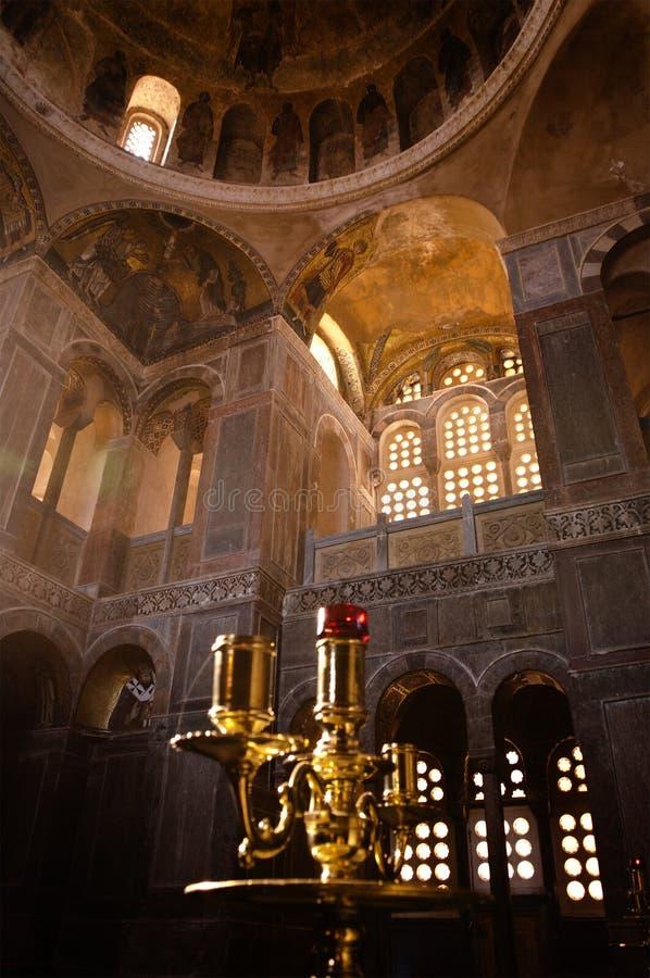 Iglesia ortodoxa bizantina, interior fotografía de archivo libre de regalías