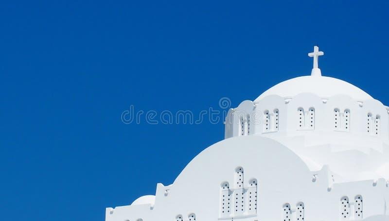 Iglesia ortodoxa en Fira Santorini Grecia fotografía de archivo