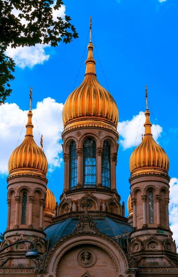 Iglesia ortodoxa rusa en Wiesbaden, Alemania foto de archivo libre de regalías