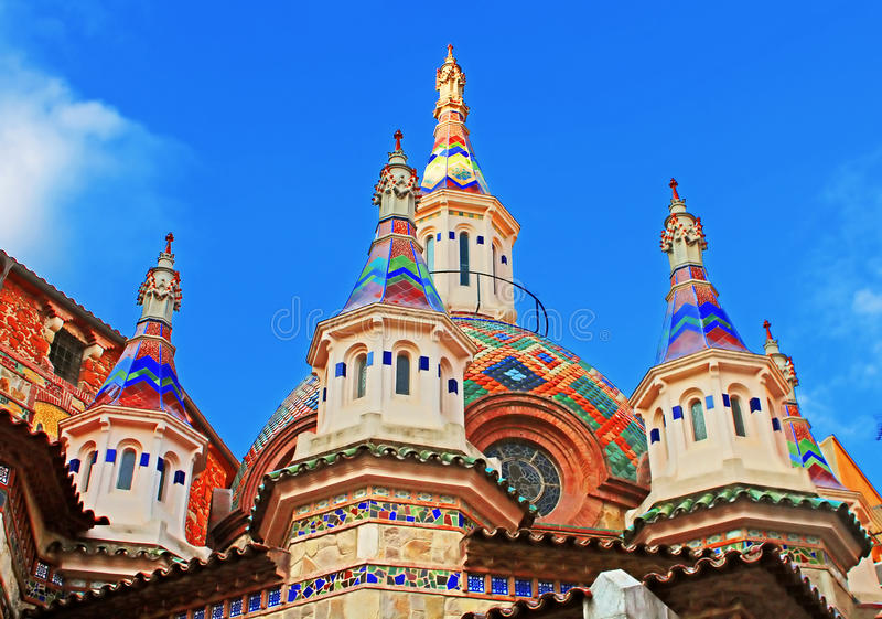 Iglesia parroquial de Sant Roma, Costa Brava, España fotografía de archivo