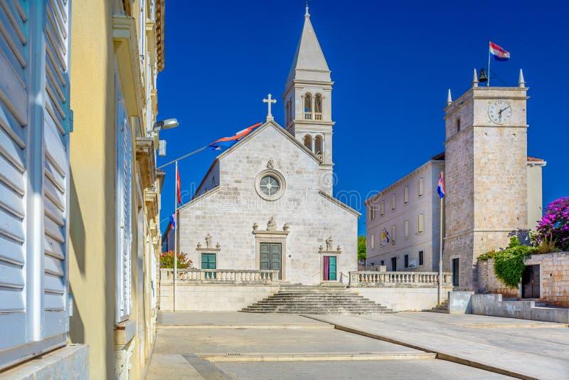 Iglesia parroquial del anuncio de St Mary, Supetar imágenes de archivo libres de regalías