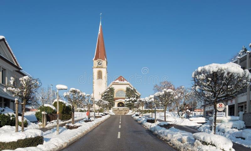 Iglesia protestante en Wallisellen fotos de archivo