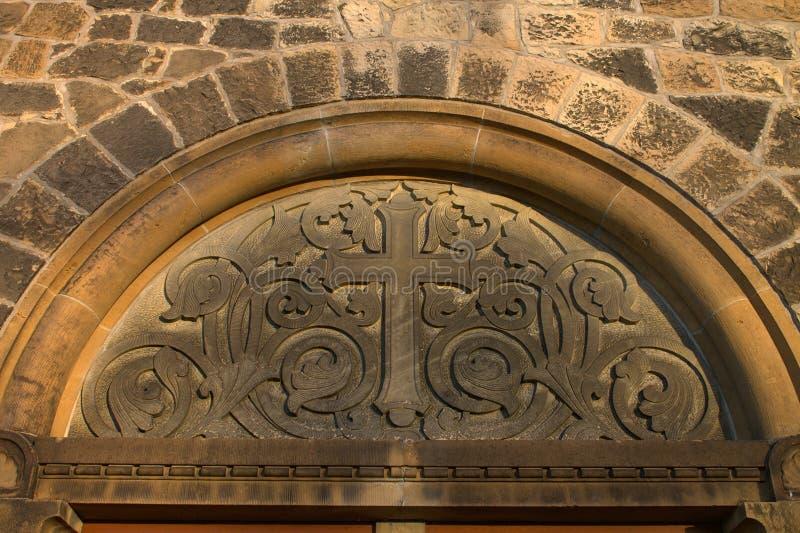 Iglesia protestante Stephanus de Hiddenhausen Fragmento cruzado de la fachada de la arquitectura alemania imágenes de archivo libres de regalías