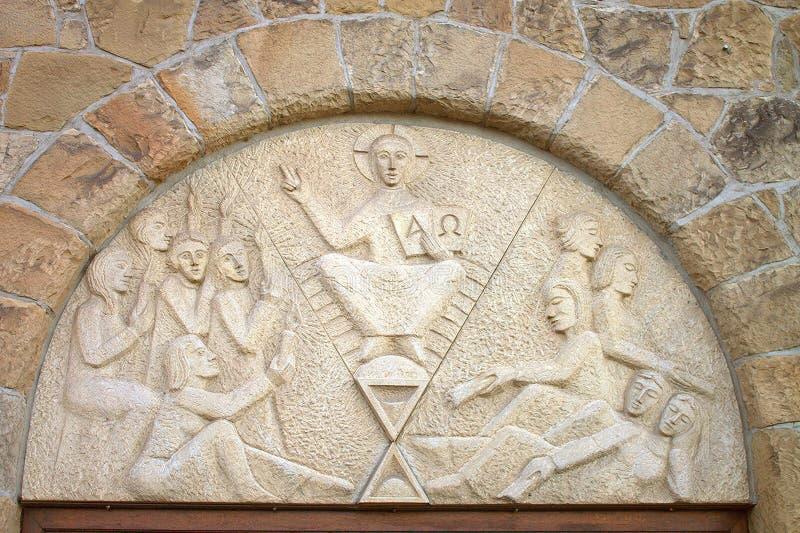 Iglesia protestante Stephanus de Hiddenhausen Fragmento cruzado de la fachada de la arquitectura alemania fotografía de archivo libre de regalías