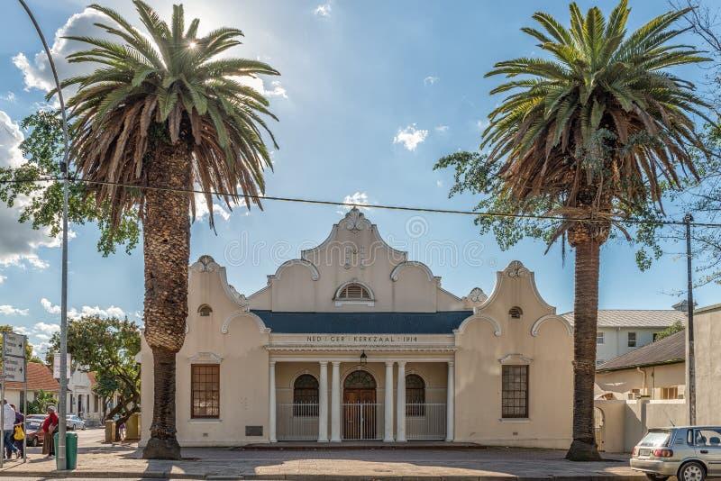 Iglesia reformada holandés Pasillo en Wellington en el Western Cape imagen de archivo libre de regalías