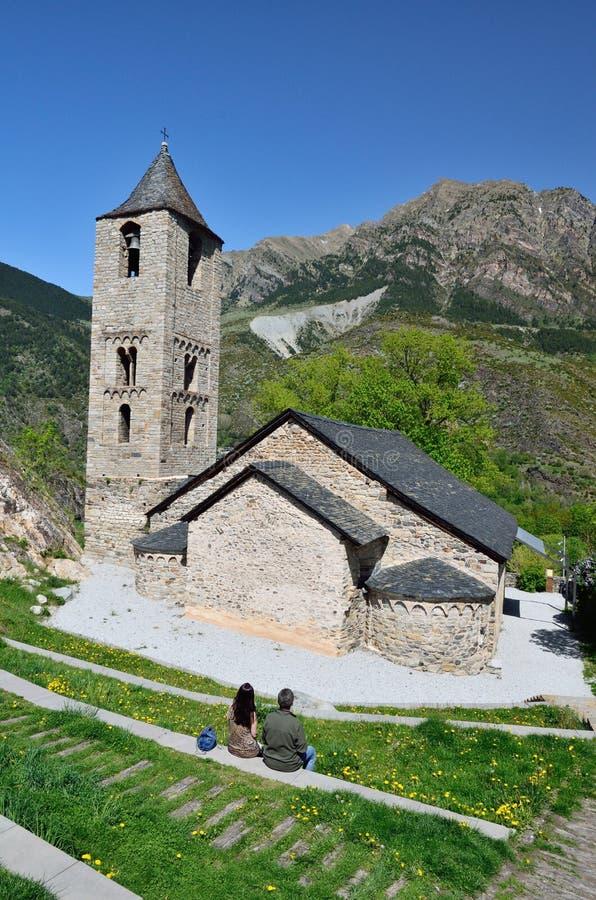 Iglesia Románica catalana del vall de Boi imagen de archivo libre de regalías