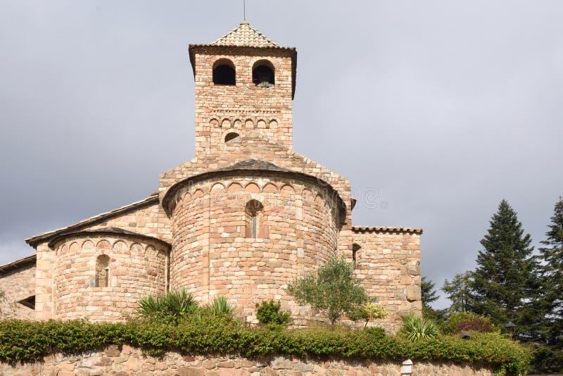 Iglesia Románica de Sant Vicens, provincia de Espinelves, Girona, C foto de archivo libre de regalías