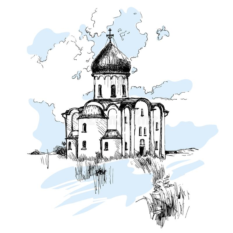 Iglesia rusa dibujada mano, bosquejo urbano fotografía de archivo libre de regalías