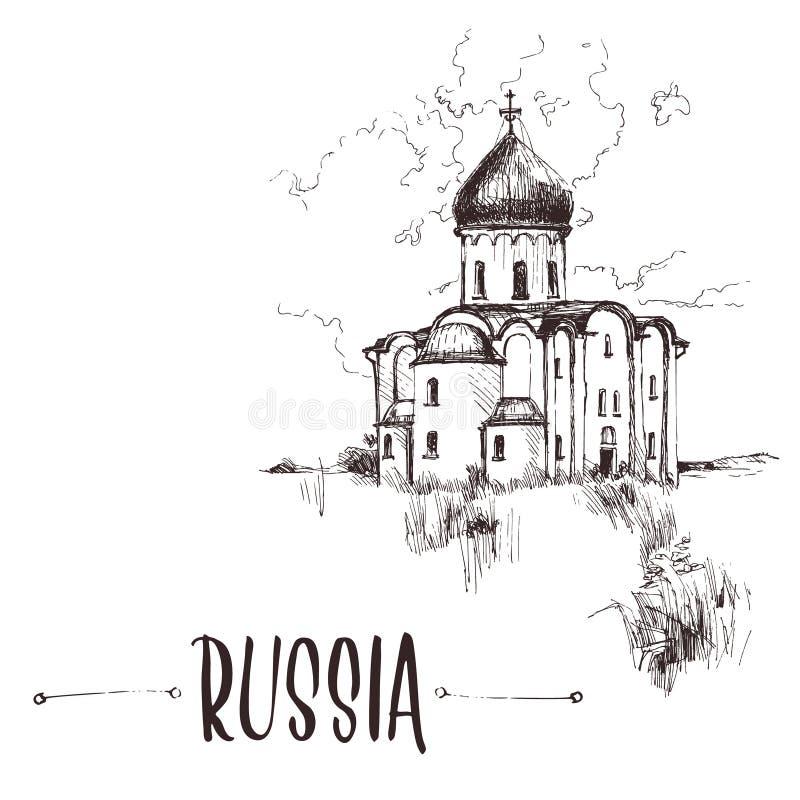 Iglesia rusa dibujada mano, bosquejo urbano Ejemplo de libro a mano, postal turística o plantilla del cartel en vector imágenes de archivo libres de regalías